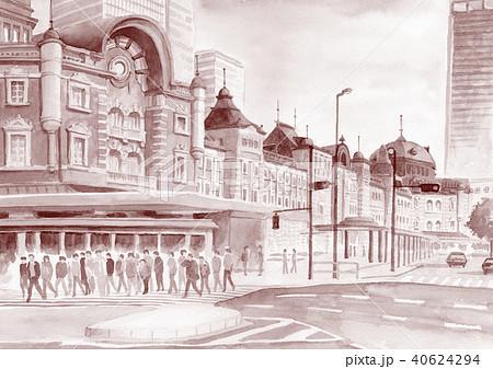 水彩で描いた東京駅駅舎セピア調 40624294