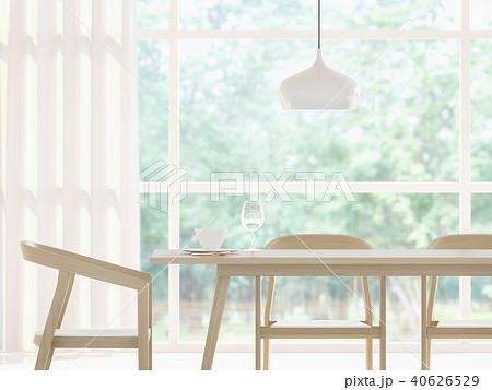 Modern white dining room 3d render 40626529
