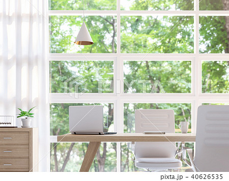 Modern white working room 3d render 40626535