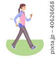女性 運動 ウォーキングのイラスト 40626668