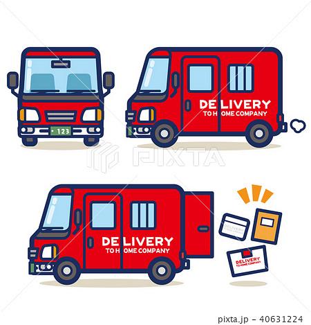 はたらく乗り物 宅配トラック(赤系) 40631224