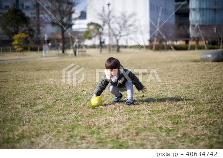 2歳児の男子/公園の芝生でボール蹴り 40634742