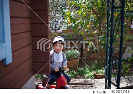 2歳児の男子/三輪車で遊ぶ 40634748