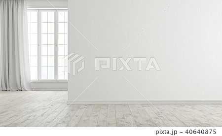 White modern bright empty room interior with window, wood floor and curtain. 40640875