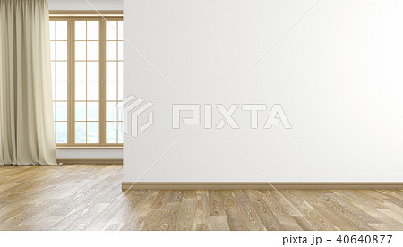 White wall and wood floor modern bright empty room interior. 3D render illustration. 40640877