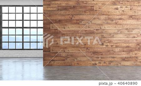 Loft wood empty room interior with concrete floor, window and brickwall. 40640890