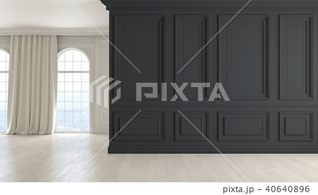 Classic empty interior with black wall, wood floor, window and curtain. 3D render illustration. 40640896