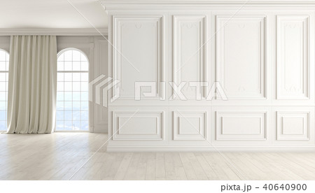 Classic empty interior with white wall, wood floor, window and curtain. 40640900