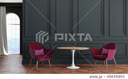 Empty room modern classic interior with black walls, red, burgundy armchairs, table, curtain. 40640905
