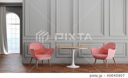 Empty room modern classic interior with gray walls, pink armchairs, table, curtain and window. 40640907