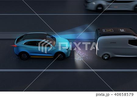 自動ブレーキをかけて追突事故を回避したイラスト。自動ブレーキのコンセプト 40658579