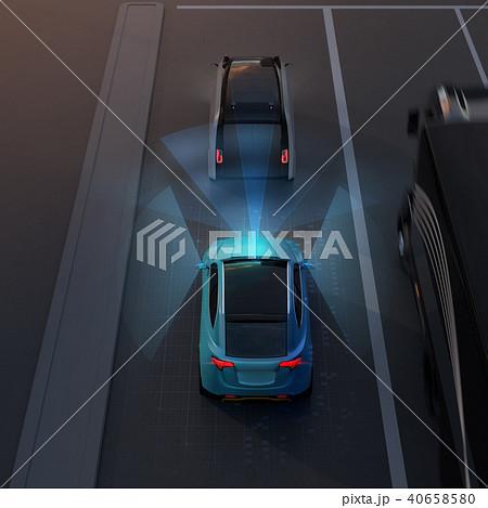 自動ブレーキをかけて追突事故を回避したイラスト。自動ブレーキのコンセプト 40658580