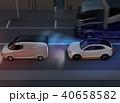 自動ブレーキをかけて追突事故を回避したイラスト。自動ブレーキのコンセプト 40658582