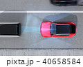 自動ブレーキをかけて追突事故を回避したイラスト。自動ブレーキのコンセプト 40658584