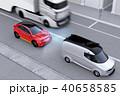 自動ブレーキをかけて追突事故を回避したイラスト。左側通行(右ハンドル)向けの自動ブレーキコンセプト 40658585