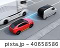自動ブレーキをかけて追突事故を回避したイラスト。左側通行(右ハンドル)向けの自動ブレーキコンセプト 40658586