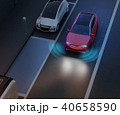 夜間自動駐車運転支援システムで縦列駐車しているSUV。 40658590