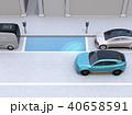 駐車スペースを確認し、自動駐車を行っている青色SUV.自動駐車システムのコンセプト 40658591