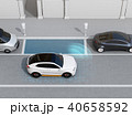 駐車スペースを確認し、自動駐車を行っているSUV.左側通行(右ハンドル)向けの自動駐車コンセプト 40658592