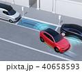 駐車スペースを確認し、自動駐車を行っているSUV.左側通行(右ハンドル)向けの自動駐車コンセプト 40658593