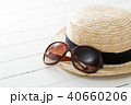サングラスと麦わら帽子 40660206