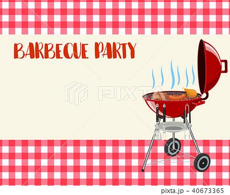 barbecue party blank invitation のイラスト素材 40673365 pixta