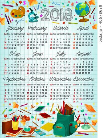 back to school 2018 year calendar template designのイラスト素材