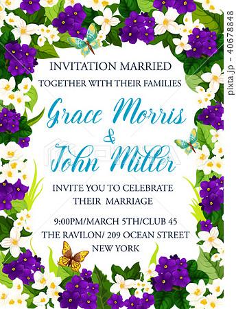 invitation card for wedding celebrationのイラスト素材 40678848 pixta