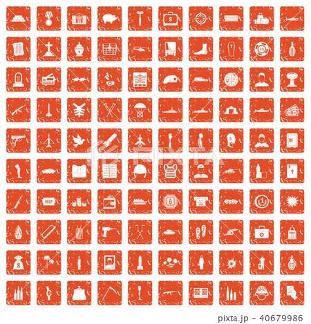 100 war crimes icons set grunge orange 40679986