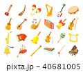 Musical instrument icon set, cartoon style 40681005