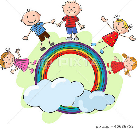little kids standing on the rainbow vector illustのイラスト素材