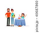 ファミリー 家庭 家族のイラスト 40687860