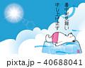 暑中お見舞葉書デザイン(横)|可愛いシロクマのイラスト(P4)と青空と白い雲|夏のイメージ 40688041
