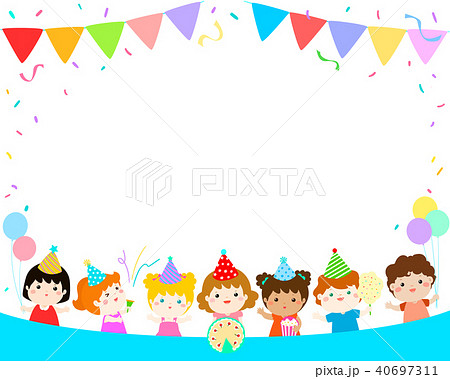 cute multicultural kids party template vector 40697311
