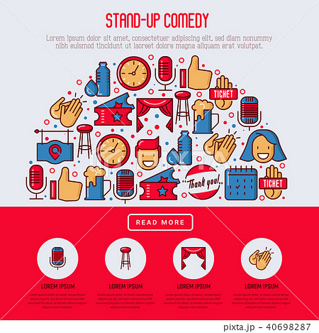 Stand up comedy show concept in half circle 40698287