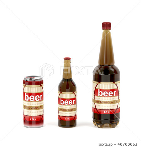 Beer containers on white background 40700063