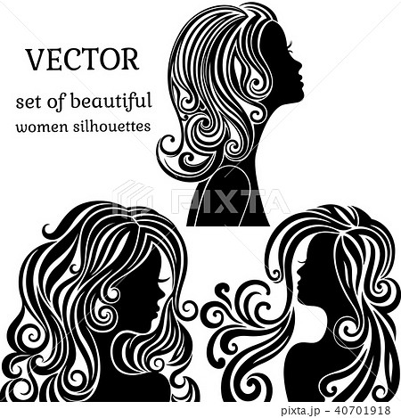set of women head silhouettes with curly hairstyles face profile の