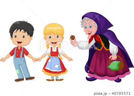 Hansel and Gretel an witch on white background  40705571