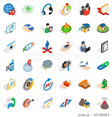 Commercial spot icons set, isometric style 40706065