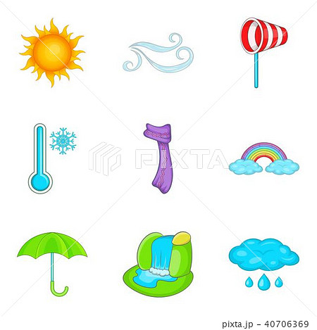 Predicting the weather icons set, cartoon style 40706369