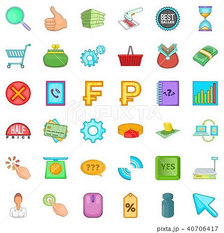 Cash equivalent icons set, cartoon style 40706417