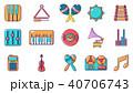 Musical instrument icon set, cartoon style 40706743