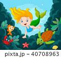 Little Mermaid Swimming Underwater with sea animal 40708963