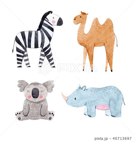 Watercolor animal set 40713697