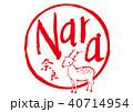 奈良 筆文字 鹿のイラスト 40714954