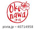 okinawa 沖縄 筆文字 水彩画 ハイビスカス 40714958