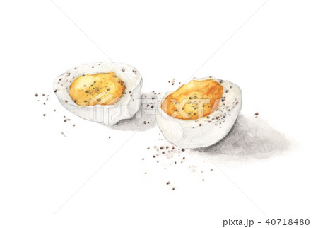 Hard boiled egg with pepper isolated on white 40718480