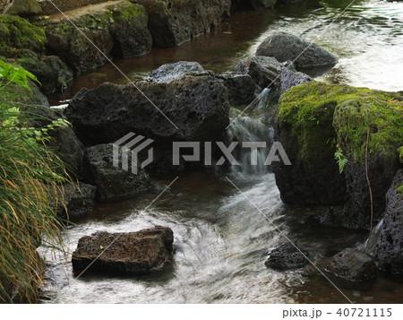 溶岩石の間を流れる湧水 40721115