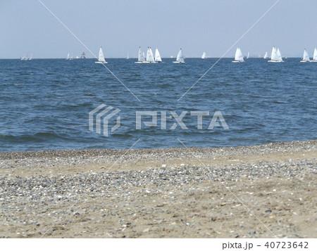 沖合いにヨットの見える稲毛海岸 40723642