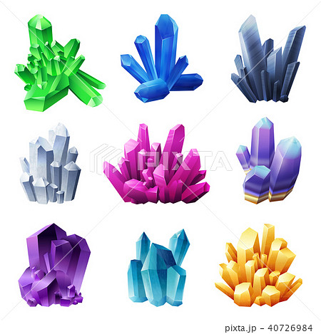 Realistic Crystal Minerals On White Background 40726984